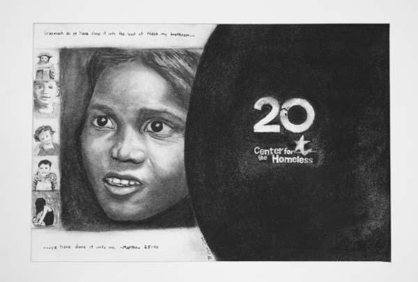 "Edgar Diaz's drawing of a woman entitled ""Hope"""