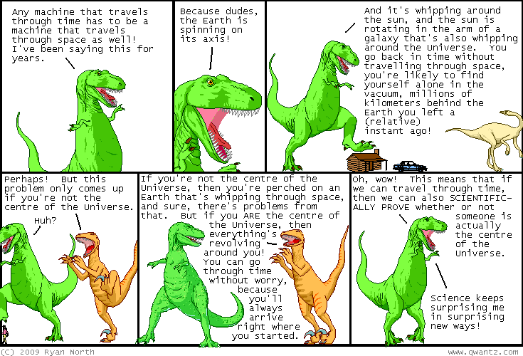 Comic strip featuring a conversation between two dinosaurs about science and the center of the universe