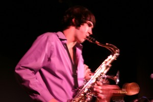 Jake Snyder plays saxophone for Kansas Bible Co. as well as his steady position in GC's Lavender Jazz ensemble