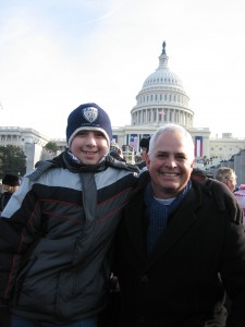 Several Goshen students attended the inauguration, but Jim and Quinn Brenneman had the privilege of entering the ticketed area, much closer to President Obama. Photo submitted by Jim Brenneman