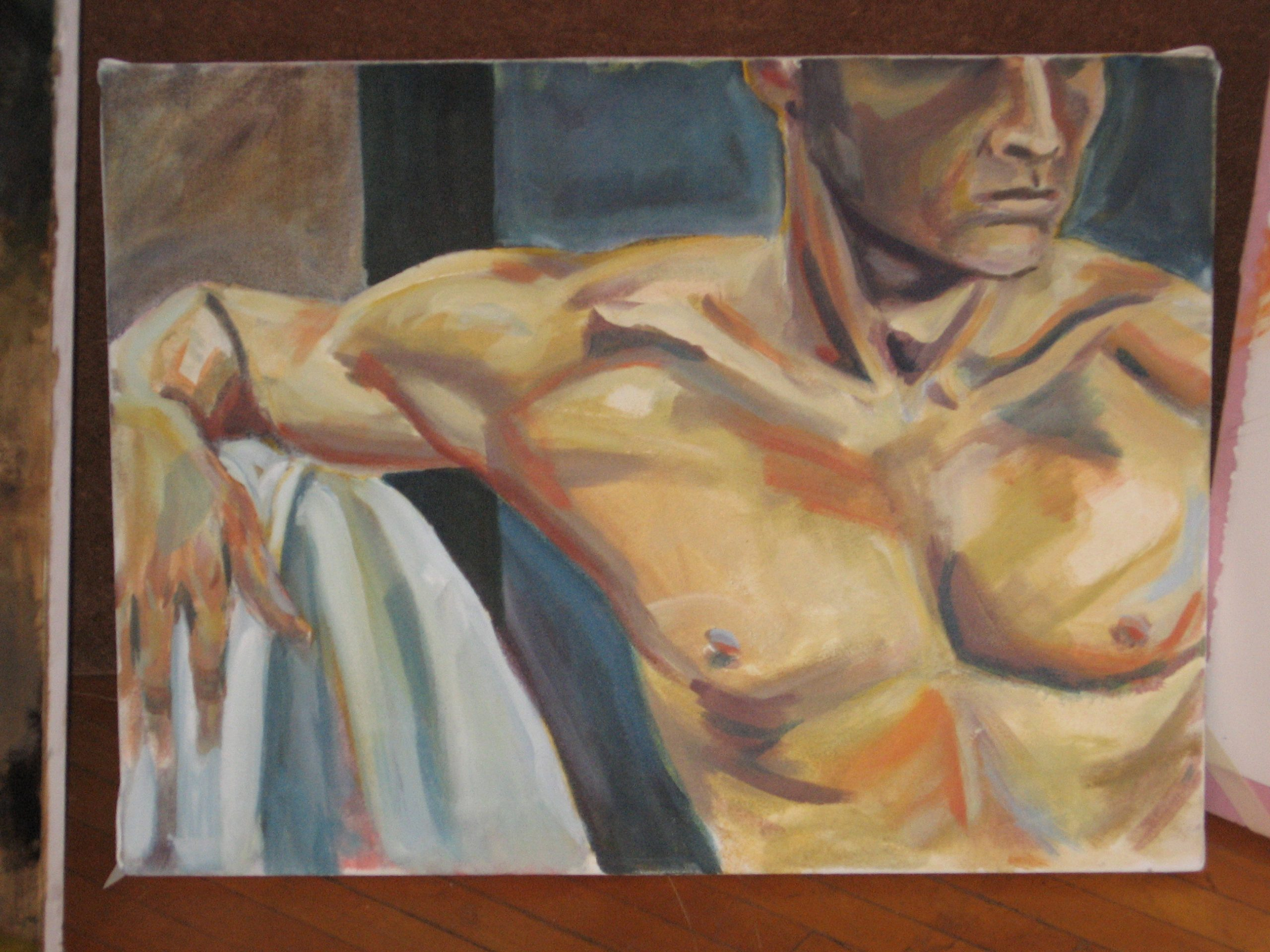 Annali Smucker's painting of Dirk Liechty on canvas in oil