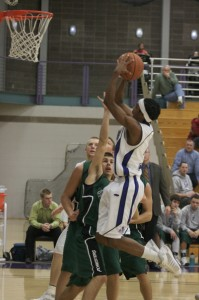 Errick McCollum catches some air in the Leafs  contest against Huntington, Tuesday. Photo by Lindsey Beck.