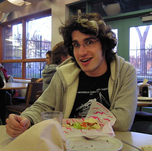 Clayton Matthew makes a funny face for the camera while eating a meal in the Rott