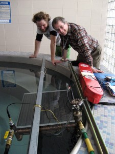 Jonathan Nafziger and Steve Shantz are on the team that is trying to heat the RFC's hot tub with solar power.  Photo contributed.