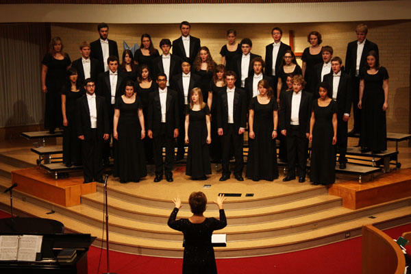 Deb Brubaker conducts Chamber Choir during a concert
