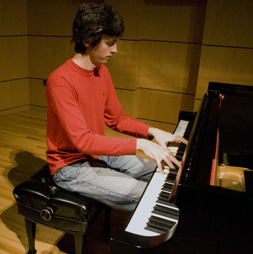 Greg Yoder plays piano in Rieth Recital Hall