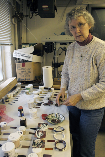 Judy Wenig Horswell has taught jewelry, enameling and art history, among other subjects, in her long stay as a professor of art at Goshen College.  Photo by Julia Baker.