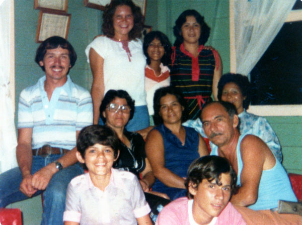 Tina Schlabach with her host family when she went on SST 30 years ago in Costa Rica.