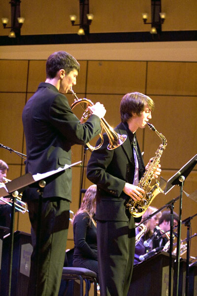 Members of Lavender Jazz perform on the Sauder Concert Hall stage