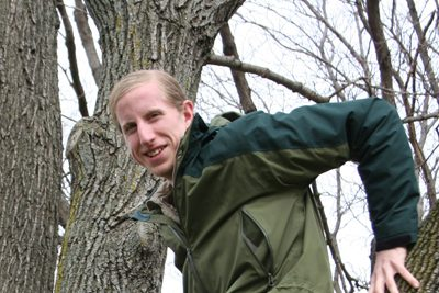 Orion Blaha sits in a tree