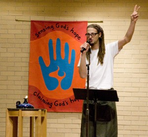 Shane Claiborne kicked off a string of appearances on GC campus with an extended chapel Wednesday. Photo by Chase Snyder.