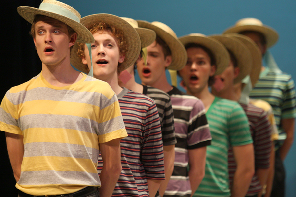 A huge chorus occasionally takes the stage in the GC Players' rendition of Gilbert and Sullivan's operetta, The Gondoliers.  Photo by Tim Blaum.