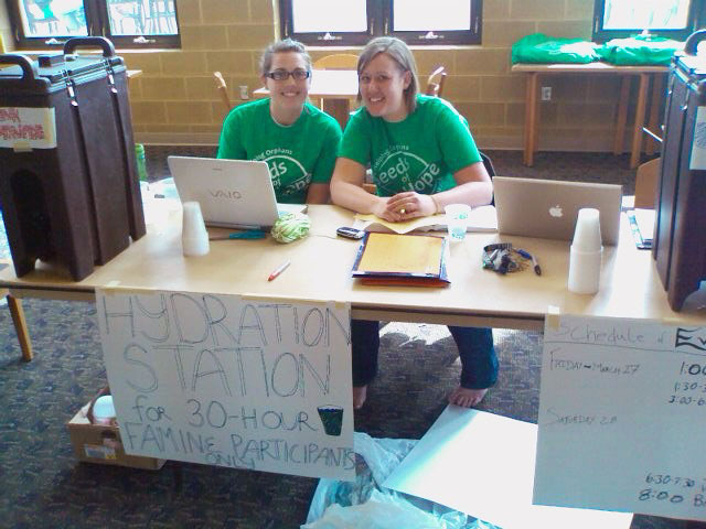 students work at hydration station