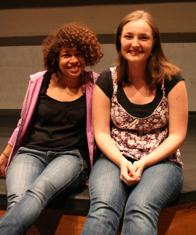 Gina Stutzman (left) and Grace Eidmann have prepared for their upcoming senior theater recitals all semester.  Photo by Julia Baker.