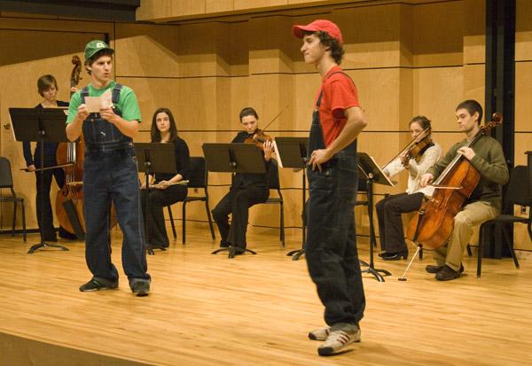 A scene from Jesse Landis-Eigsti's self-composed Mario and Luigi opera in Rieth Recital Hall