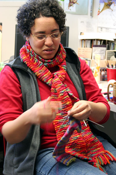 Malinda Berry will teach knitting during May term.  Photo by Julia Baker.