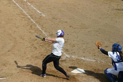 Leah Lehman hits a home-run in the sixth inning as Goshen softball hurtles towards the season finale, May sixth. Photo by Jordan Kauffman.