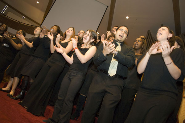 The Voices-n-Harmony Gospel Choir sang a concert for Martin Luther King Day this year.  Photo by Jodi Beyeler/PR Office.