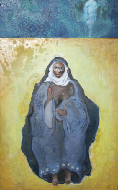 """Whitney Philipps' oil painting titled """"madonna not yet with child diptych."""""""