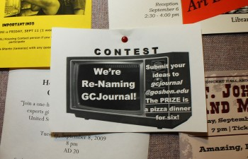 A flier advertising GC Journal's name changing contest. Photo by Anjelica Lehman.