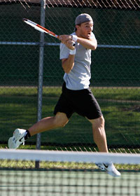 Men's tennis in action
