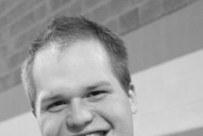 Black and white portrait of Tim Blaum