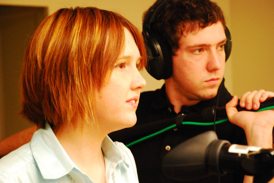 students work on film project
