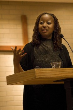 Brenda Stalter McNeil conducted a cultural audit at Goshen College this week. It assessed sensitivity to racial, ethnic and gender issues.  Photo by Emily Miller.