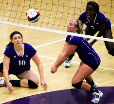 Three Goshen players dive for the ball in a match against Grace College that ended in victory for GC this past Tuesday.  Photo provided by Sports Information Dept.