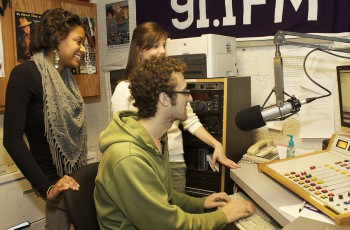 From left: Brett Bridges, Kelsey Shue and Chase Snyder's This I Believe essays were selected to be aired on 88.1 WVPE, the local NPR affiliate.  Photo by Angelica Lehman.