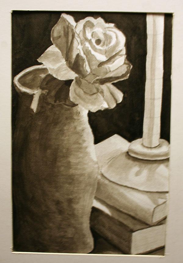 Melissa Kauffman's still-life print of a vase and flower