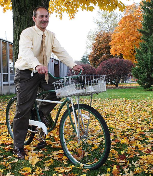 Duane Stoltzfus riding his bike