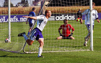 Soccer player celebrates goal