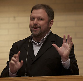 """Tim Wise spoke on the fallacy of calling modern society """"post-racial"""" in convo, Wednesday.  Photo by Angelica Lehman."""