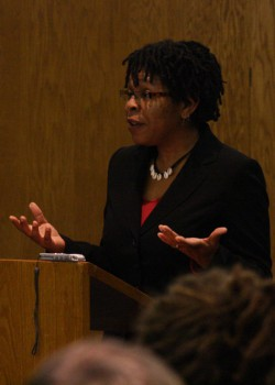 Regina Shands-Stoltzfus presented her doctoral research on African American Mennonite women in a lecture in NC-17, Tuesday.  Photo by Martin Brubaker.
