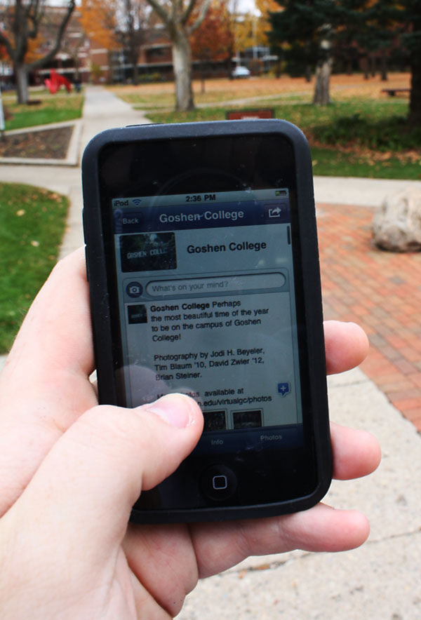 Student uses facebook app on cell phone