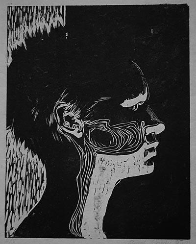 Annali Smucker's woodcut self-portrait