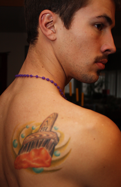 Isaac Lederach's back tattoo