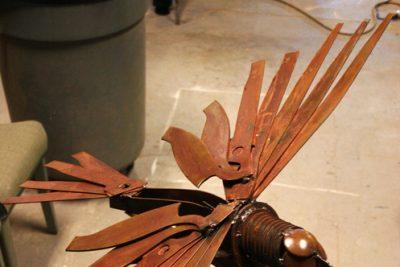 Russell Horst's welded steel hawk artwork