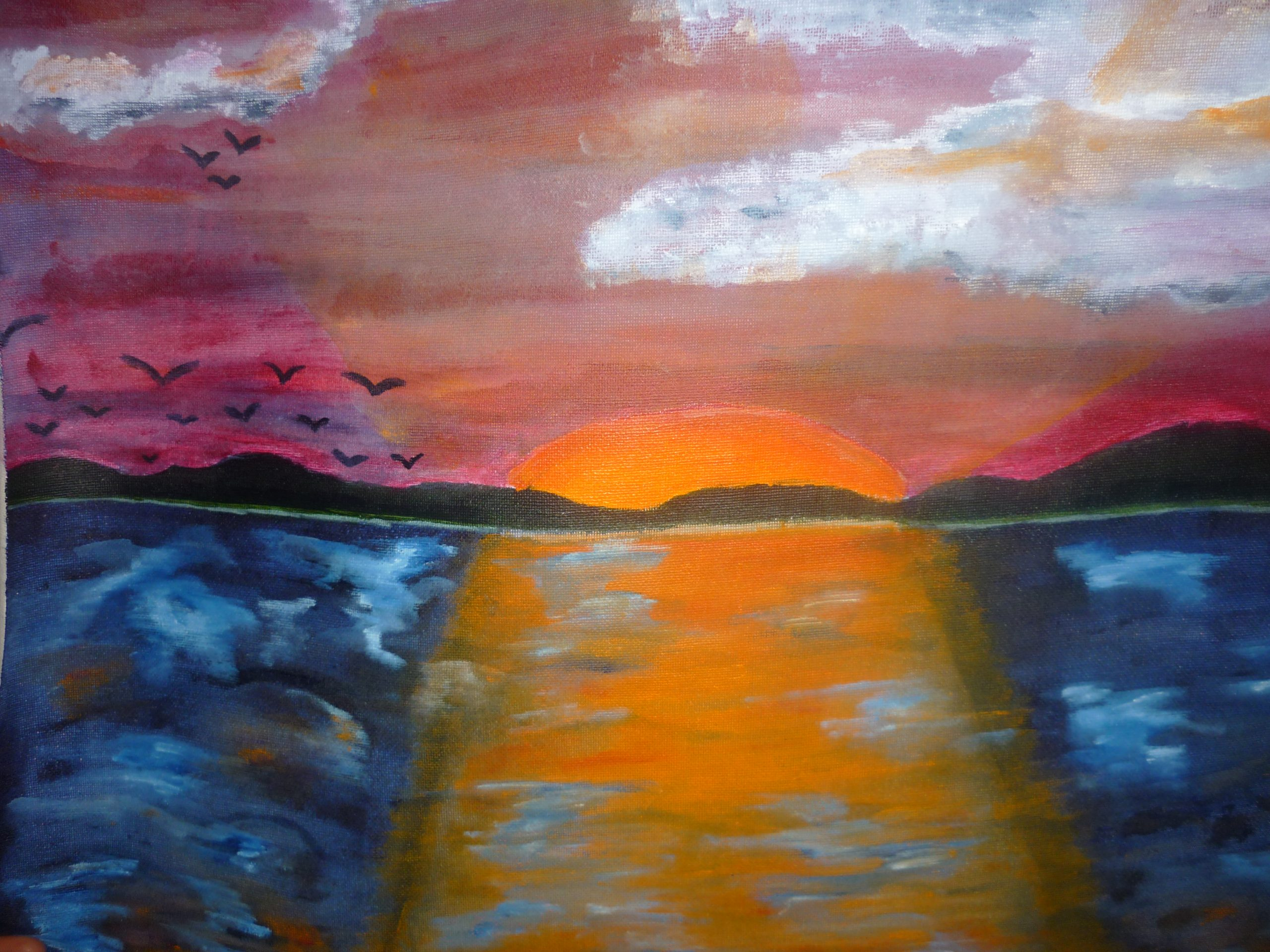 Rayna Pierre's painting of a beach sunset