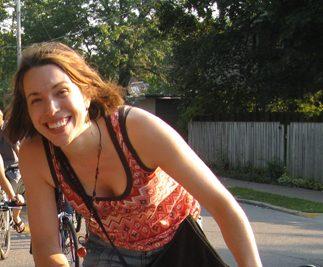 Andrea Kraybill on a bike