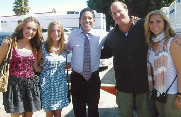 Students with cast members from NBC's The Office