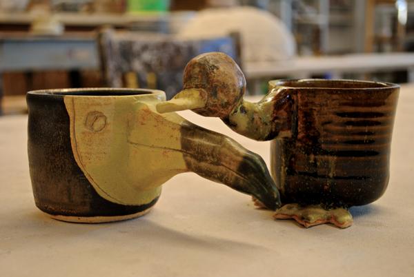 Aspen Schmidt's toucan-inspired mug and duck-inspired mug