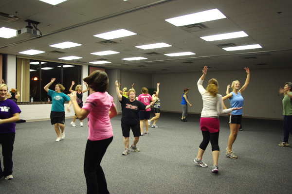 Students and community members participate in Zumba class in the RFC