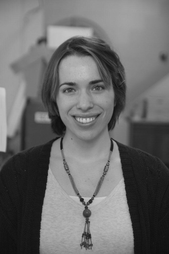 Black and white portrait of Andrea Kraybill