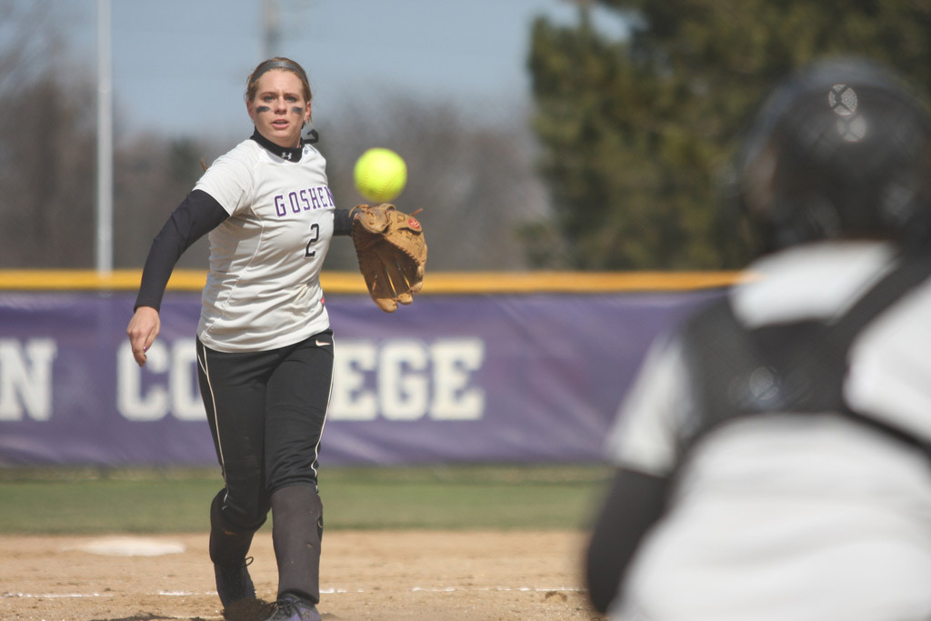 A player on the Goshen softball team prepares to catch the ball in her mitt