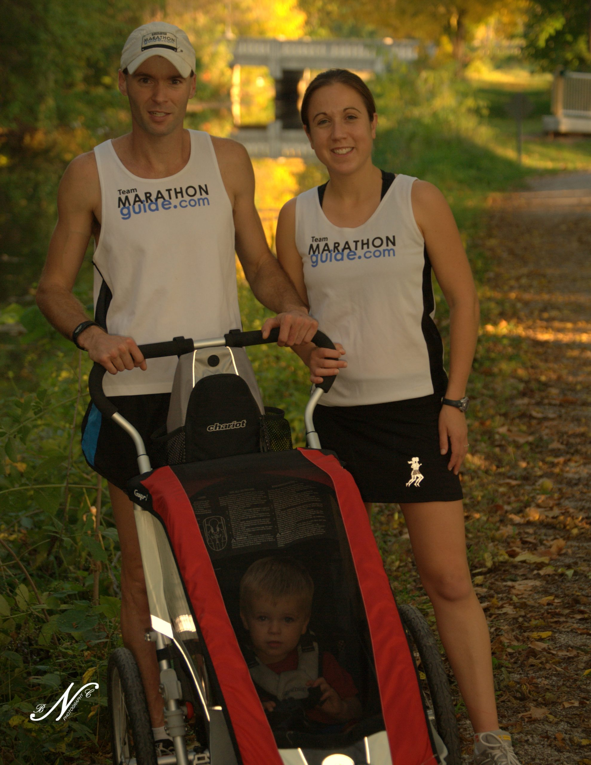 Justin Gillette with wife Melissa and son Miles at a race