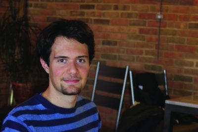 Levi Smucker works on a musical composition