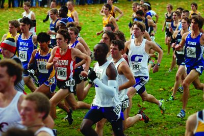 Oscar Joses Kirwa and Jordan Smeltzer race against many other runners from opposing teams