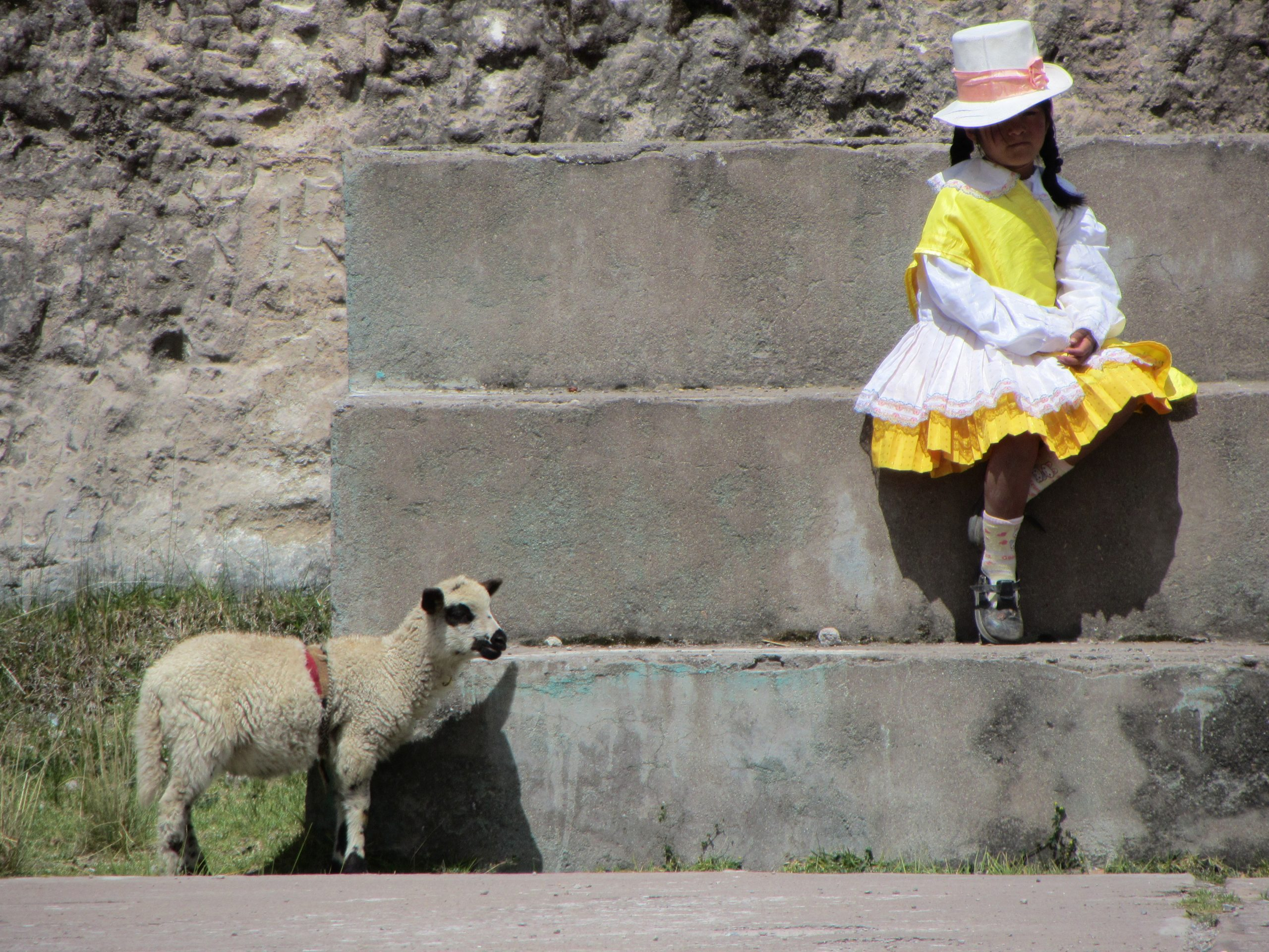 Josh Yoder's photo of a girl and a sheep outside a school in Peru